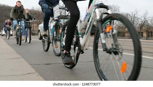 PRAGUE, CZECH REPUBLIC, CIRCA JANUARY 2018 - Many cyclists biking among friends in european city