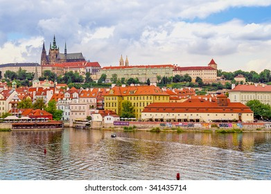 Prague, Czech Republic - circa July 2014. A view of the Old town from the Charles' Bridge on the river Vltava