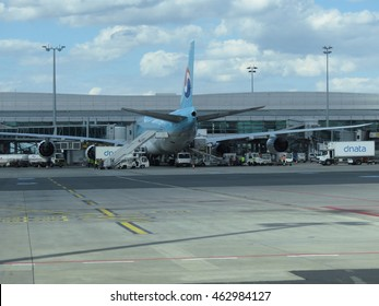 PRAGUE, CZECH REPUBLIC - CIRCA JULY 2016: World 2nd biggest passenger aircraft Boeing 747 Jumbo of the Korean Air at Vaclav Havel international airport