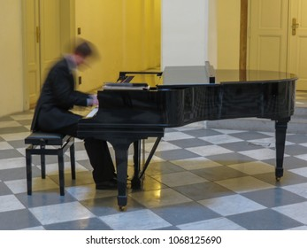 PRAGUE, CZECH REPUBLIC - CIRCA MARCH 2015: unidentified piano player