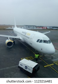 PRAGUE, CZECH REPUBLIC - CIRCA MARCH 2018: Vueling Airbus A320 parked at the airport