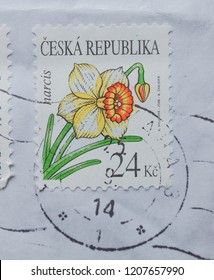 PRAGUE, CZECH REPUBLIC - CIRCA MAY 2015: envelope with a Czech stamp with narcissus flower