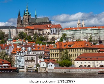 PRAGUE, CZECH REPUBLIC - CIRCA MAY 2017: View of Prague historical center with the castle Hradcany circa May 2017 in Prague.