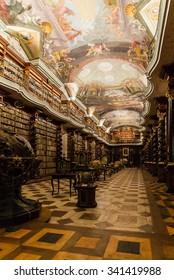 Prague, Czech Republic - Circa November 2015 - Inside the Klementinum library in Prague