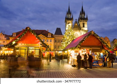 PRAGUE, CZECH REPUBLIC- DEC 02, 2015: Prague Christmas market on Old Town Square with gothic Tyne cathedral. Centre of Prague is UNESCO protected.