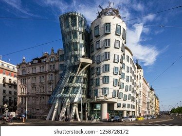 Prague, Czech Republic - Dec 15, 2018:   Prague Dancing modern house Fred and Ginger