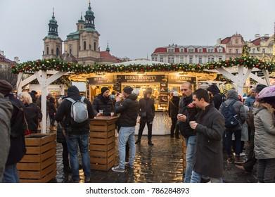 PRAGUE, CZECH REPUBLIC - DEC 30, 2017: Christmas market on the Old Town Square,  Prague