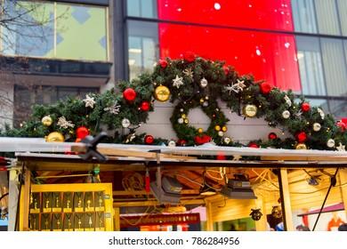 PRAGUE, CZECH REPUBLIC - DEC 30, 2017: Christmas market in Prague, Czech Rupublic