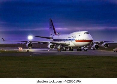 PRAGUE, CZECH REPUBLIC - DECEMBER 02: South Korean Air Force Boeing 747-400  stands on apron during visit of president Pak Kun-hje on December 3, 2015 in Prague.