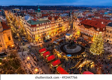 PRAGUE, CZECH REPUBLIC - DECEMBER 10, 2015: View from above on traditional Christmas market at Old Town Square illuminated and decorated for holidays in Prague  -  capital of Czech Republic.