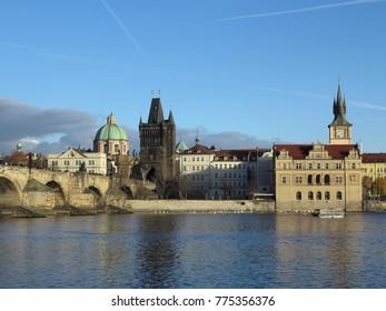 PRAGUE, CZECH REPUBLIC - DECEMBER 10, 2016: The Charles bridge and Novotneho footbridge