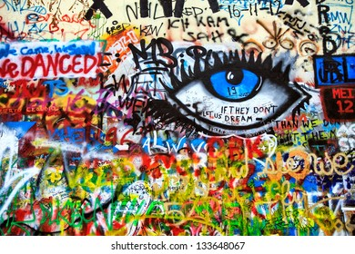 PRAGUE, CZECH REPUBLIC - DECEMBER 11:The Lennon Wall since the 1980s filled with John Lennon-inspired graffiti and pieces of lyrics from Beatles songs on December 11, 2012 Prague, Czech Republic