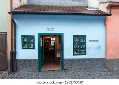 PRAGUE, CZECH REPUBLIC - December 13, 2018:  Franz Kafka lived and worked in this tiny brightly painted house on Golden Lane (Zlata Ulicka) built into the Prague Castle's fortification in 16 century.