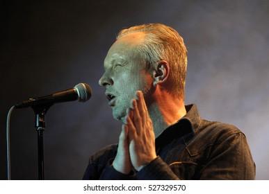 PRAGUE, CZECH REPUBLIC - DECEMBER 13, 2012: Singer Jaromir Svejdik of Priessnitz performs live during a concert at Palac Akropolis on December 13, 2012 in Prague, Czech Republic.