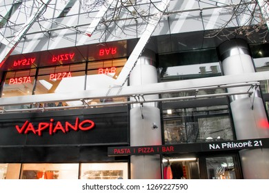 PRAGUE, CZECH REPUBLIC - DECEMBER 14, 2018 Logo of the Italian Vapiano in Prague, which is a pizza and pasta bar where customers will order and wait in line until their food is ready