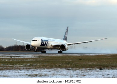 PRAGUE, CZECH REPUBLIC - DECEMBER 16: LOT Polish Airlines, Boeing B787 Dreamliner takes off from PRG Airport on December 16, 2012. Polish Airlines, is the flag carrier of Poland. Based in Warsaw.