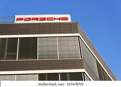 PRAGUE, CZECH REPUBLIC - DECEMBER 16: Porsche automotive company logo on Czech headquarters building on December 16, 2016 in Prague, Czech republic. Apple hires former Porsche racing engineer.