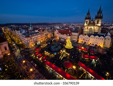 PRAGUE, CZECH REPUBLIC - DECEMBER 17, 2013: Old Town Square in Prague, Czech republic, during Christmas season on Dec 17, 2013 in Prague. Every year the Christmas market begins at the end of November