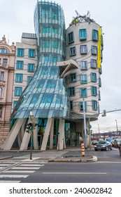 PRAGUE, CZECH REPUBLIC - DECEMBER 18, 2014: Dancing House also called Fred and Ginger was designed 1992 by Vlado Milunic and Frank Gehry and completed 1996 on a vacant riverfront plot by Vltava river