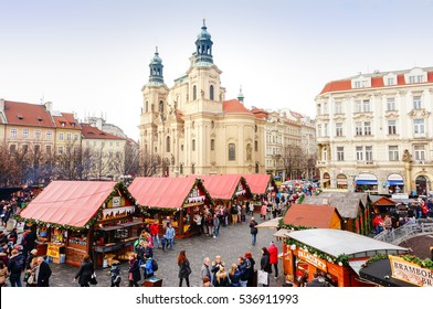 PRAGUE, CZECH REPUBLIC - DECEMBER 19,2015: Atmosphere of beautiful Christmas market at Old Town Square (Staromestske namesti). World Heritage site by UNESCO