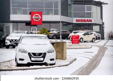 PRAGUE, CZECH REPUBLIC - DECEMBER 2 2018: Nissan motor company cars standing in front of dealership building on December 2, 2018 in Prague, Czech Republic.