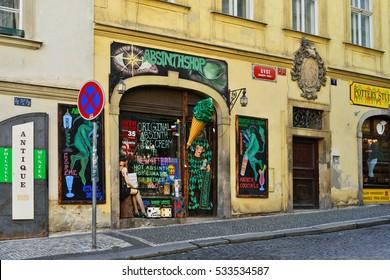 PRAGUE, CZECH REPUBLIC- December 2, 2016: The streets of old Prague. Trade absinthe