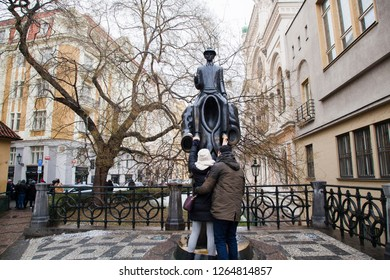 Prague Czech Republic - December 20, 2018: The statue of Franz Kafka, authored by sculptor Jaroslav Rona, installed in 2003 on Vesenskaya Street
