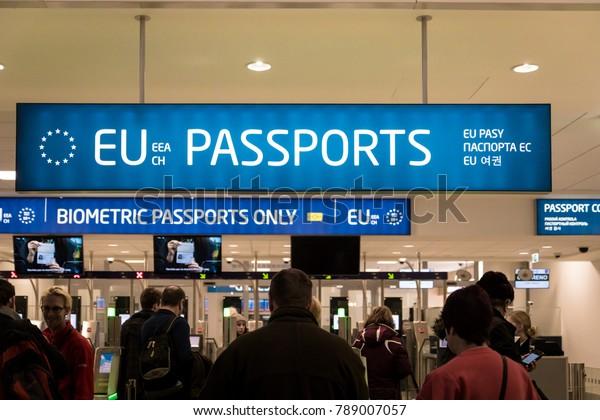 Prague, Czech Republic - December 2017: Passport control entrance area for EU and other passport holders at Prague Airport, Czech Republic.