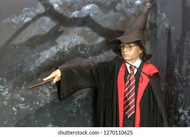 Prague, Czech Republic - December 2018:  Harry Potter wax figure in Madame Tussauds museum