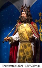 Prague, Czech Republic - December 2018: Charles IV - king of Bohemia - wax figure in Madame Tussauds museum