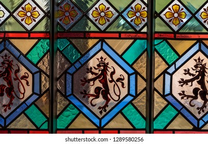 Prague, Czech Republic - December 2018: decorative stained glass in the Powder Tower in the city
