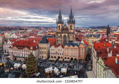 Prague, Czech Republic - December 2018: Christmas market at the Old town Square after sunset