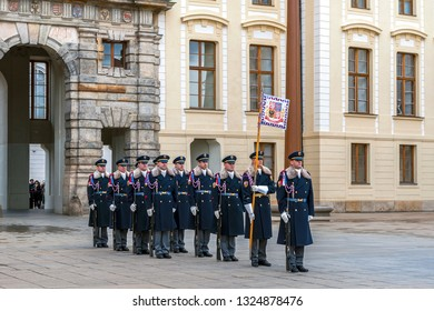 Prague, Czech Republic - December 2018: changing of guards ceremony in the courtyard of city castle