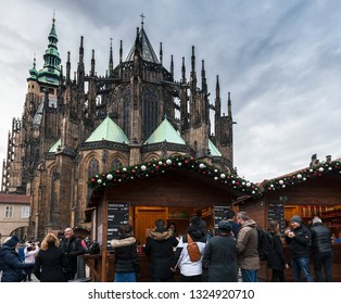 Prague, Czech Republic - December 2018:  Christmas market near St Vitus cathedral