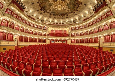 PRAGUE, CZECH REPUBLIC - DECEMBER 21, 2016: The State Opera, Prague - Empty auditorium before reconstruction