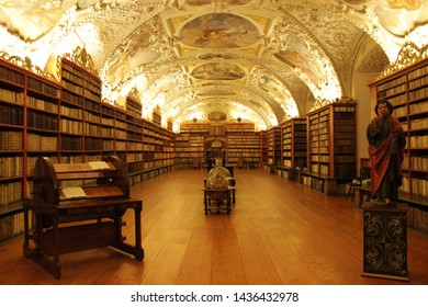 Prague, Czech Republic - December 26th, 2017: The Klementinum library is considered the most beautiful library in the world.