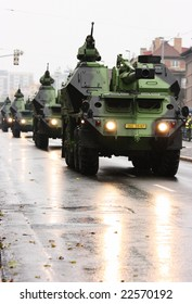PRAGUE, CZECH REPUBLIC - DECEMBER 28: Column of armored gun system vehicles in the streets of Prague during the military troops review. December 28th 2008 in Prague, Czech Republic