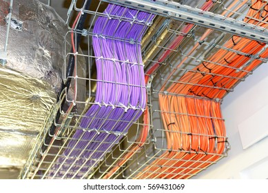 PRAGUE, CZECH REPUBLIC December 3, 2016: Power electric cables and wires of technological systems in hanging metal structures. Institute of Organic and Biochemistry Academy of Sciences .
