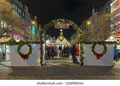 PRAGUE, CZECH REPUBLIC - DECEMBER 5, 2017: Christmas market at the Wenceslas Square in night. The market offers the variety of food and beverages.