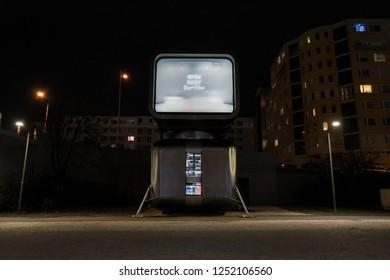 PRAGUE, CZECH REPUBLIC - DECEMBER 6 2018: Robotically operated futuristic winebar restaurant Cyberdog on December 6, 2018 in Prague, Czech Republic.