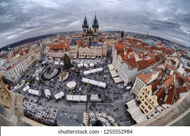 Prague, Czech Republic - December 6, 2018 : A fisheye shot from the clock tower of the christmas market at the Old Town Square.