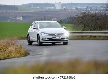 PRAGUE, CZECH REPUBLIC - DECEMBER 6, 2017: New Volkswagen Polo riding near Prague, Czech republic, December 6, 2017.