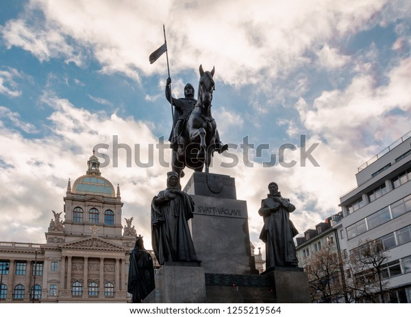 PRAGUE, CZECH REPUBLIC - DECEMBER 8, 2018:  Saint Wenceslaus statue on Vaclavske Namesti in Prague, Czech Republic Wenceslas square. December 8, 2018 Prague, Czech Republic.