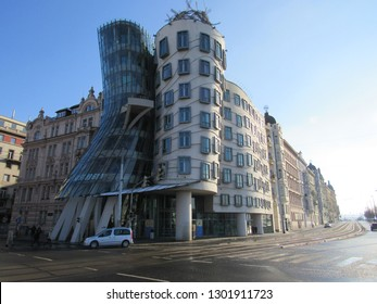 Prague, Czech Republic, Europe: Jan 2018 - The Dancing House. A building  consisting of two towers of cylindrical shape, one of which is bent, and as it resembles a couple dancing