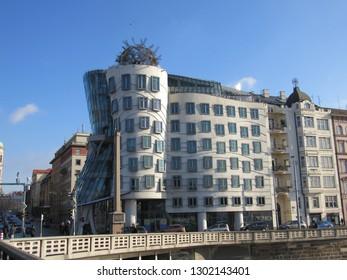 Prague, Czech Republic, Europe: Jan 2018 - The Dancing House in Prague, Europe