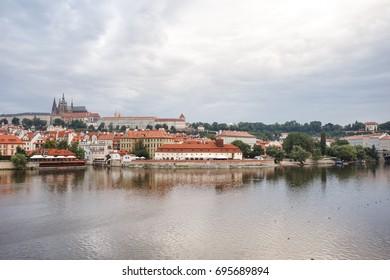 Prague, Czech Republic, Europe - July 12, 2017: panorama cityscape, view of Charles Bridge in Prague, Czech Republic