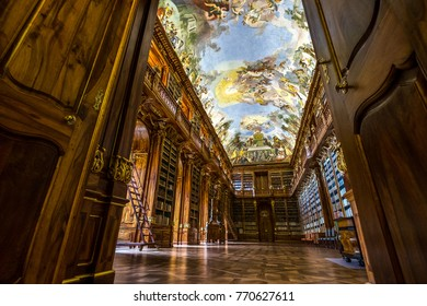 Prague, Czech Republic Europe - October 11 2014 - The Philosophical Hall, built for the books coming from the southern Moravian Louka Convent located in the Strahov Monastery