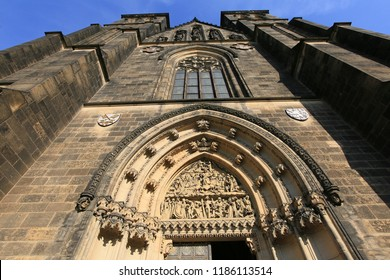 Prague, Czech Republic, Facade of the Basilica of St. Peter and Pavel in Visegrad