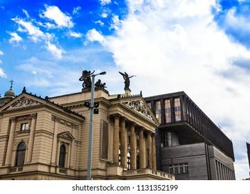 Prague, Czech Republic. Facade of the State Opera House ( Statni Opera ) . Exterior of Neo-Renaissance architecture Prague Opera House.