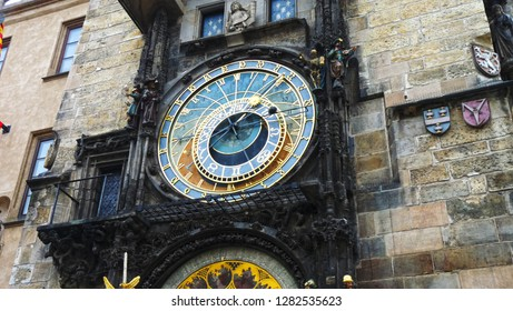 Prague / Czech Republic - famous Astronomical Clock on Old Town Square of capital city of Czechia, Prague, Central Europe (the oldest astronomical clock in the world still operating)